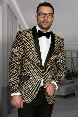 Manzini Mens Gold Exotic Pattern Sequin Dinner Jacket MZE-113 IS