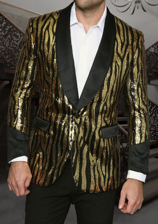 Manzini Mens Gold Tiger Stripe Sequin Dinner Jacket MZE-105  - click to enlarge