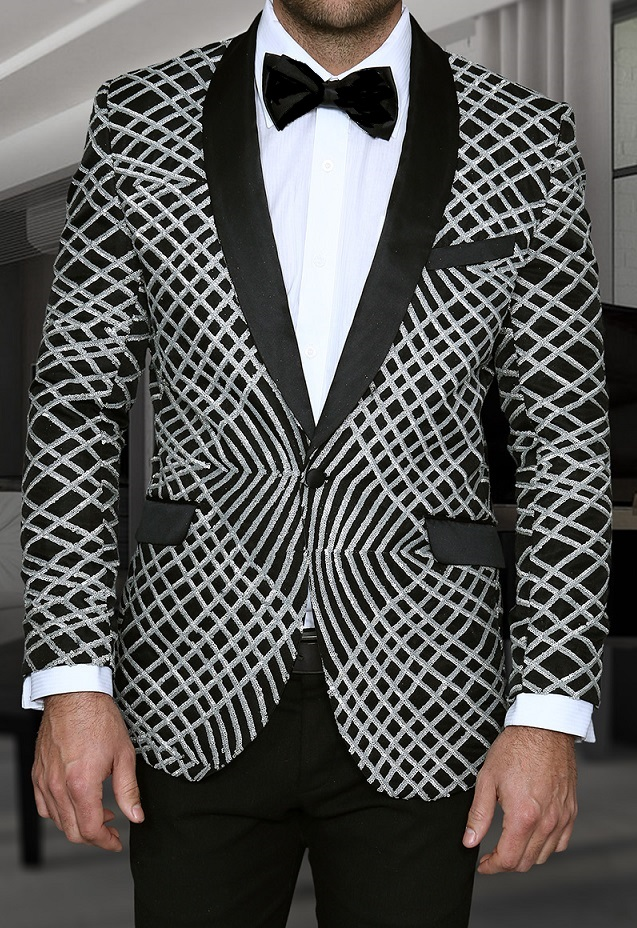 e5176b12df Manzini Mens Silver Exotic Pattern Sequin Dinner Jacket MZE-113 IS
