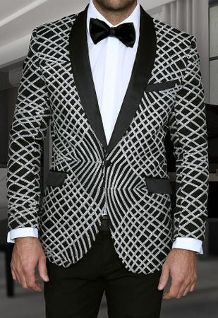 Manzini Mens Silver Exotic Pattern Sequin Dinner Jacket MZE-113 IS