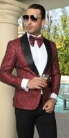Manzini Mens Trendy Fashion Blazer Red Woven Dinner Jacket MZS-270  IS