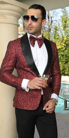 Manzini Mens Trendy Fashion Blazer Red Woven Dinner Jacket MZS-270  IS - click to enlarge