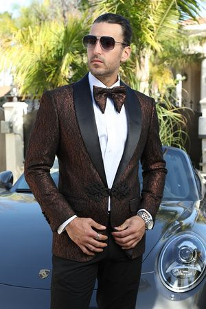 Insomnia Paisley Dinner Jacket Mens Rust Blazer MZN-113 - click to enlarge