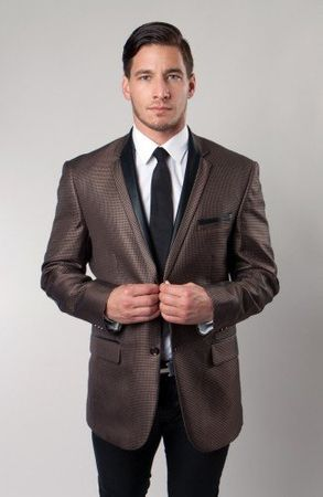 Dinner Jacket Slim Fit Tazio Mens Brown Houndstooth MJ139-03S