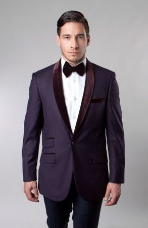 Tuxedo Dinner Jacket Slim Fit Tazio Mens Plum Velvet Collar MJ145S - click to enlarge