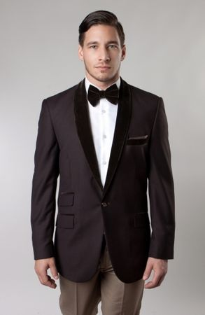 Tazio Mens Brown Velvet Collar Tuxedo Dinner Jacket Slim Fit MJ145S