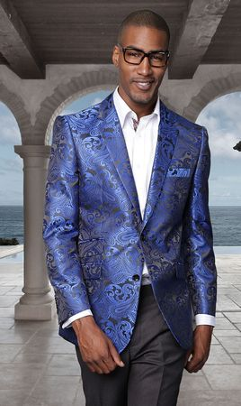 Manzini Paisley Blazer Mens Royal Blue Shiny Jacket MZS-140 - click to enlarge