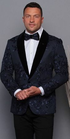 Manzini Men's Navy Floral Embroidered Fitted Tuxedo Blazer MZE-180 Bow