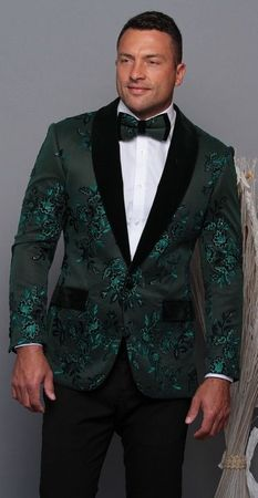 Manzini Men's Kelly Green Floral Embroidered Fitted Tuxedo Blazer MZE-180 Bow