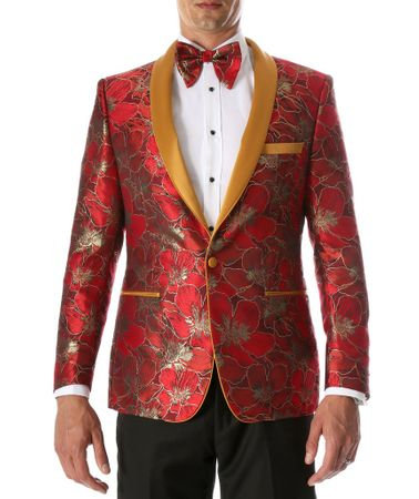Party Wear Blazer Men Red Gold Floral Jacket Ferrecci Hugo