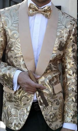Mens Ornate Gold Swirl Sequin Jacket Blazer Alberto Sequin-2A - click to enlarge