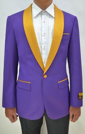 Mens Purple/Gold Collar Prom Tuxedo Jacket Alberto Dinner-Jacket - click to enlarge