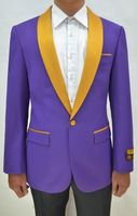Mens Purple/Gold Collar Prom Tuxedo Jacket Alberto Dinner-Jacket