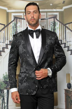 Manzini Men's Black Paisley Fitted Tuxedo Blazer MZS-289 Bow - click to enlarge