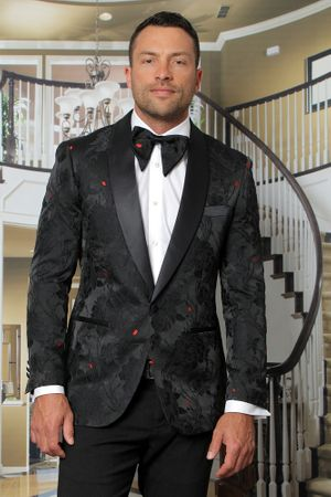 Manzini Men's Black Floral Fitted Tuxedo Blazer MZS-290 Bow - click to enlarge
