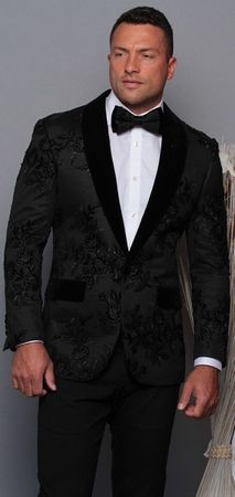 Manzini Men's Black Floral Embroidered Fitted Tuxedo Blazer MZE-180  Bow