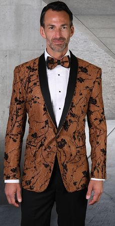 Statement Blazer For Men Copper Floral Pattern Design LJ 101
