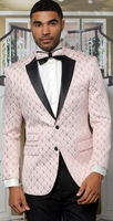 Manzini Dinner Jacket Mens Pink Diamond Pattern MZS-296 Bow