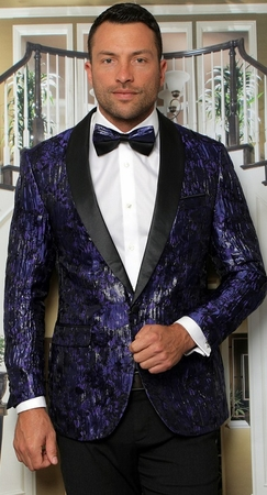 Manzini Modern Fit Dinner Jacket Royal Floral Design MZS-293 Bow - click to enlarge