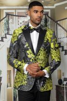 Manzini Men's Gold Floral Fitted Tuxedo Jacket MZS-282 Bow