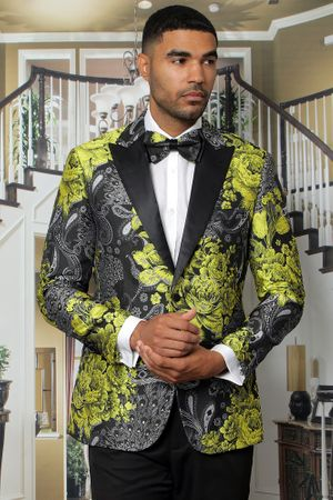 Manzini Men's Gold Floral Fitted Tuxedo Jacket MZS-282 Bow - click to enlarge