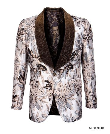 Empire Men's Prom Jacket Brown Floral Fitted Blazer ME317H-01