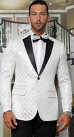 Manzini Dinner Jacket Mens White Diamond Pattern MZS-296 Bow