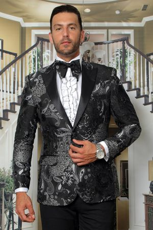 Manzini Men's Black Floral Fitted Tuxedo Jacket MZS-282 Bow - click to enlarge