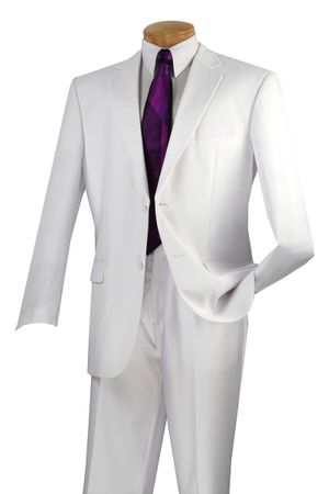 Vinci Mens All White Suit Flat Front Pants Regular Fit 2C900-2
