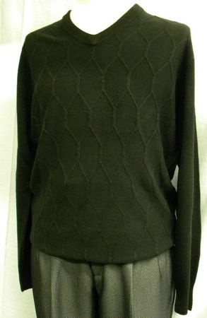 Marquis Mens Black Chenille Knit V Neck Sweater 11491 - click to enlarge