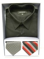 Marquis Mens Black Dress Shirt with Two Tie Gift Set 009BX Size 17.5