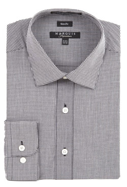 Marquis Mens Black Mini Check Slim Fit Dress Shirt 004SL