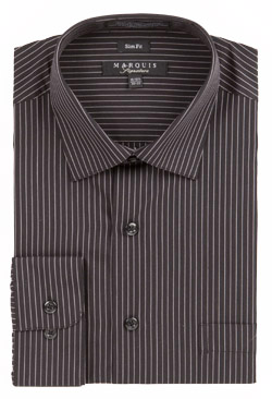 Marquis Mens Black Pinstripe Slim Fit Dress Shirt 009SL