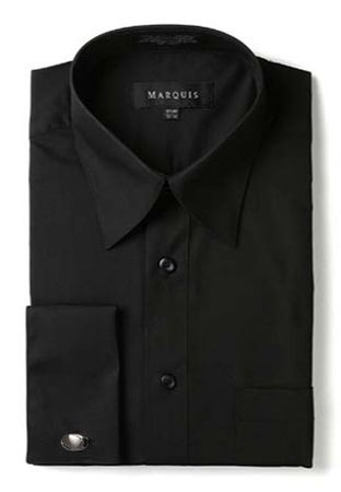 Marquis Mens Black Pointed Collar French Cuff Dress Shirt  009F