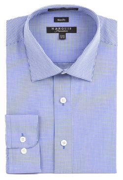 Marquis Mens Blue Mini Check Slim Fitting Dress Shirt 004SL