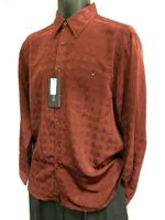 Marquis Mens Burgundy Shadow Pattern Long Sleeve Shirt 0255