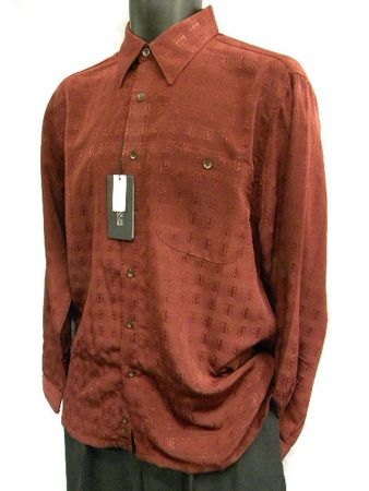 Marquis Mens Burgundy Shadow Pattern Long Sleeve Shirt 0255 Size M
