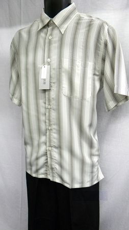 Marquis Mens Ecru Design Casual Short Sleeve Shirt 1202 Size M - click to enlarge