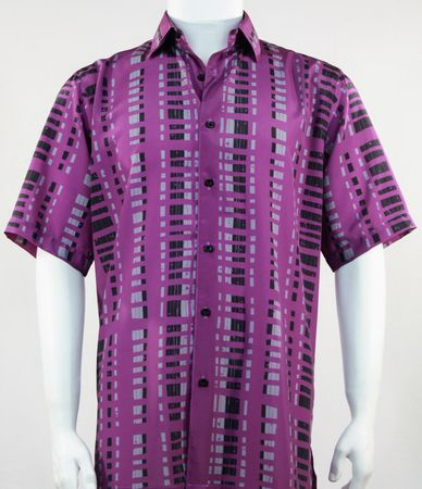 Bassiri Leisure Shirt Mens Purple Patterned Short Sleeve Print 61501 - click to enlarge