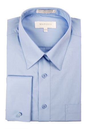 Marquis Mens Light Blue Pointed Collar French Cuff Dress Shirt  009F