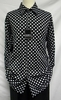 Pronti Mens Black White Polka Dot Long Sleeve Shirt 61061 htm