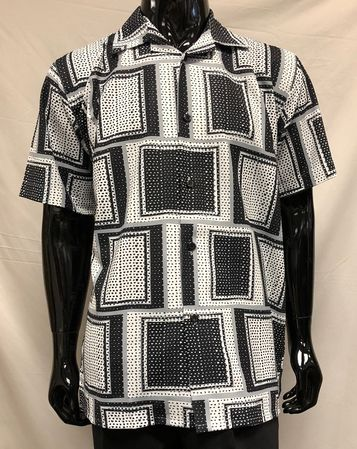 Pronti Mens Black White Square Pattern Casual Shirt S6376 - click to enlarge