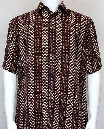 Bassiri Mens Brown Beige Design Casual Short Sleeve Shirt 60381 - click to enlarge