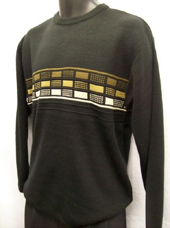 Marquis Mens Black Block Design Crew Neck Sweater 9477 Large ONLY - click to enlarge