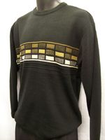 Marquis Mens Black Block Design Crew Neck Sweater 9477 Large ONLY