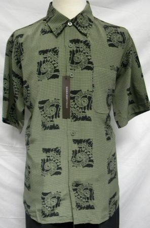 Giogio Mens Olive Shell Print Short Sleeve Casual Shirt 1505 - click to enlarge