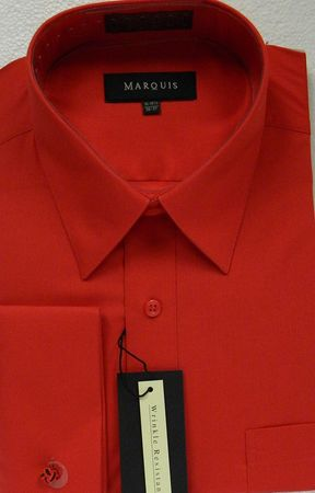 Marquis French Cuff Shirt Mens Red Regular Collar 009F