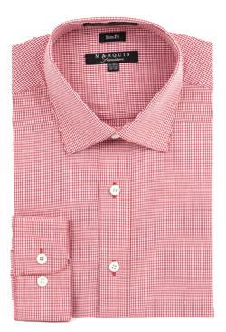Marquis Mens Red Mini Check Slim Fit Dress Shirt 004SL