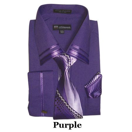 Milano Mens Fancy Trim Purple French Cuff Shirt Tie Set SG28 - click to enlarge