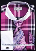 Fratello Wide Spread Collar Lavender Plaid Shirt and Tie Set FRV4125P2 Size 16.5 34/35 Final Sale